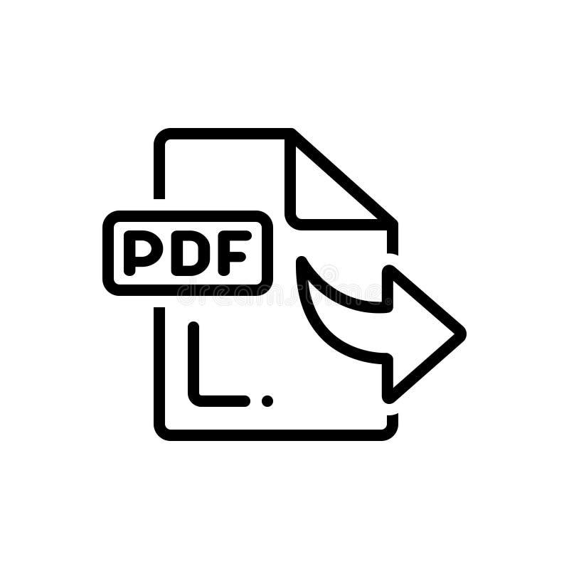 Línea negra icono para derivado, recibido y fichero stock de ilustración