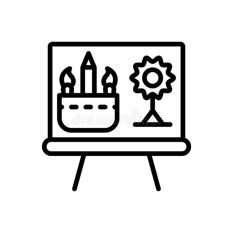 Línea negra icono para dibujar, el bosquejo y el proyecto stock de ilustración