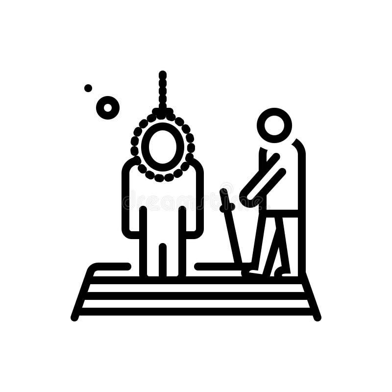 Línea negra icono para ejecutar, la muerte y el castigo ilustración del vector