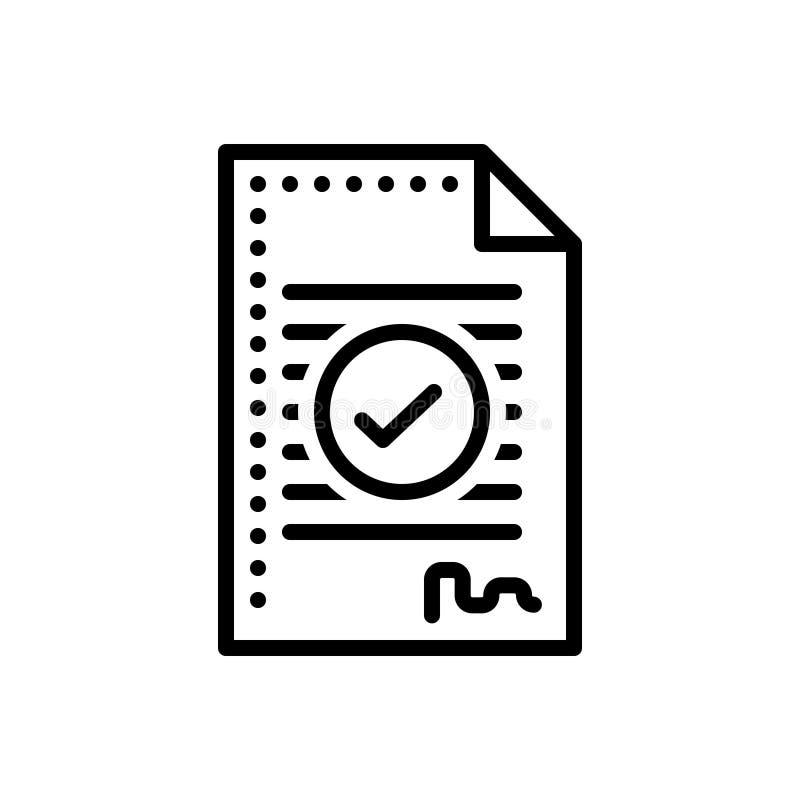 Línea negra icono para el acuerdo, el compromiso y el trato libre illustration