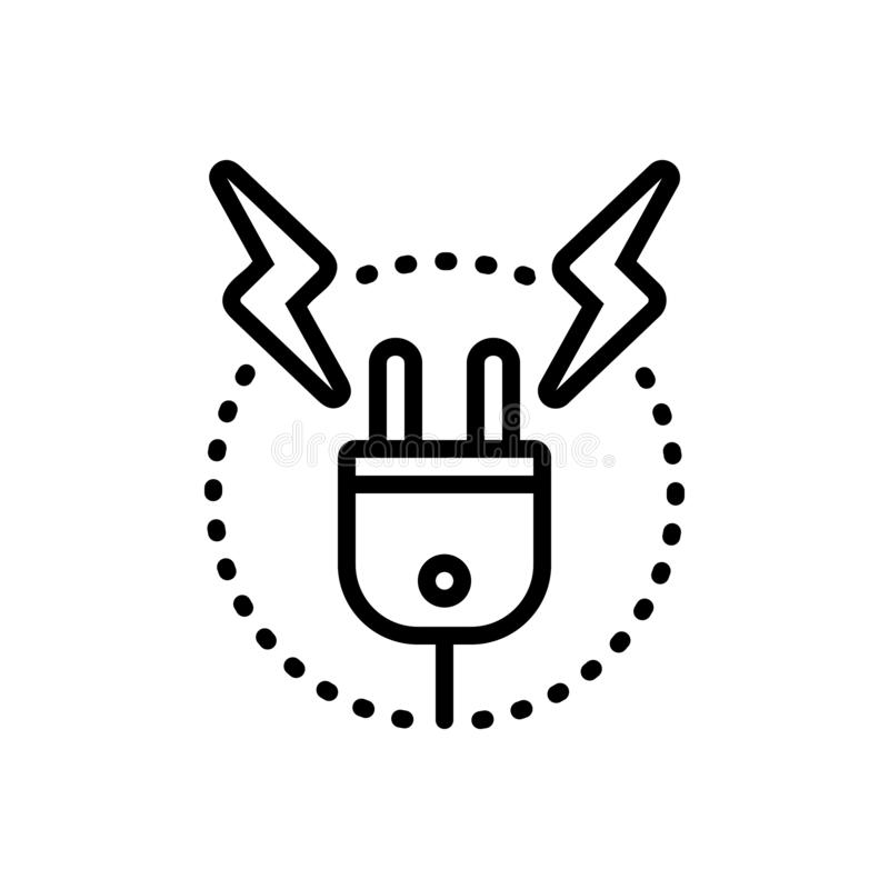Línea negra icono para el alto voltaje, la resistencia y la contrarreacción libre illustration