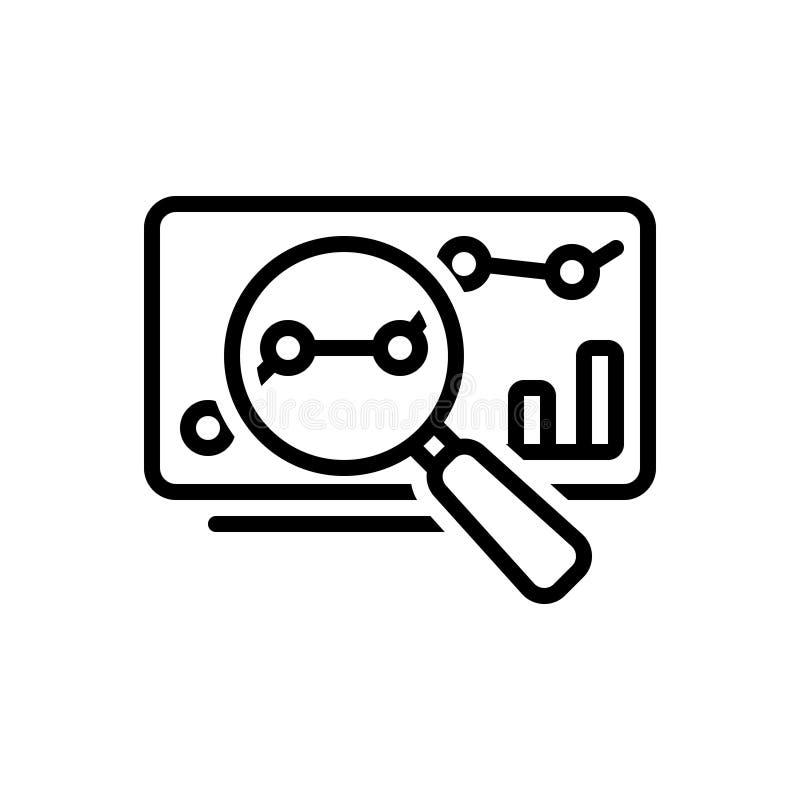 Línea negra icono para el análisis, la estadística y la investigación de datos stock de ilustración