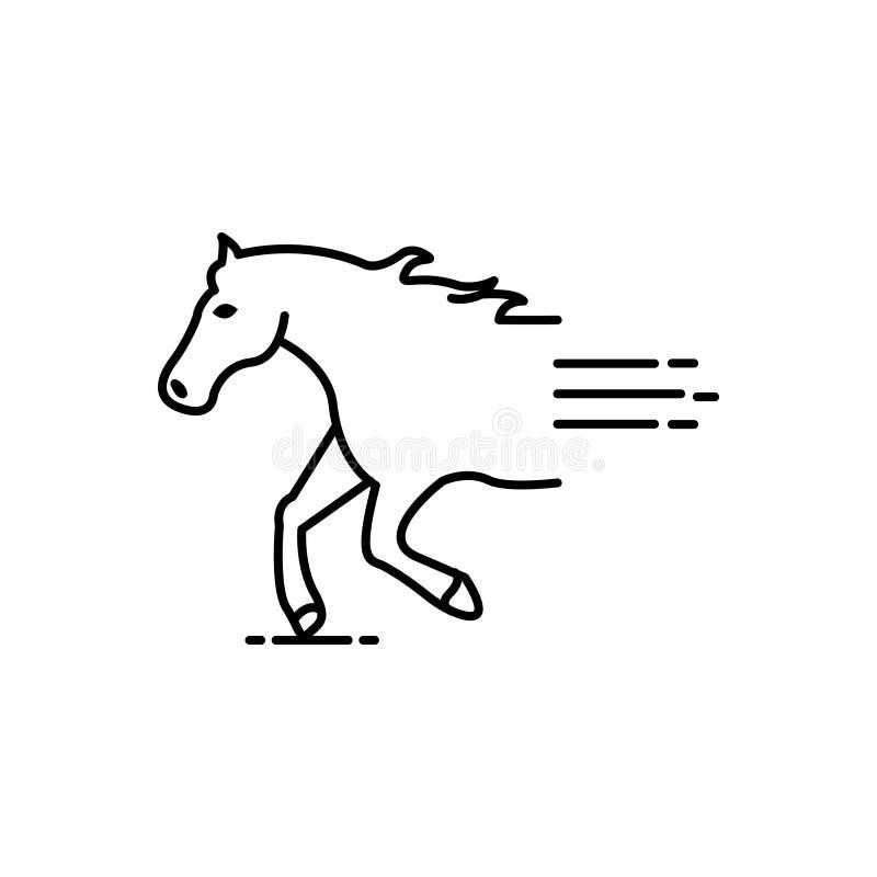 Línea negra icono para el caballo, las razas y el paseo ilustración del vector
