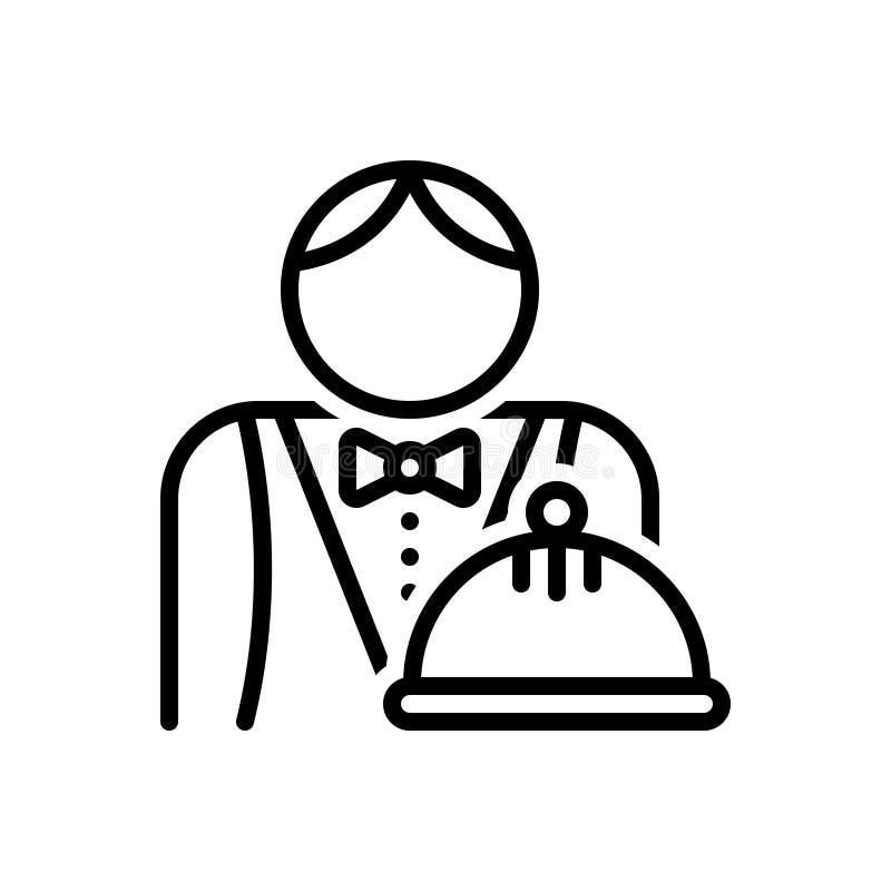 Línea negra icono para el camarero, el asistente y el abastecimiento stock de ilustración