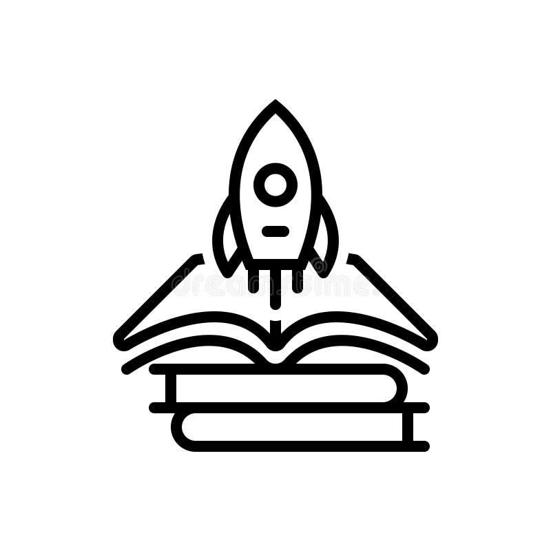 Línea negra icono para el crecimiento, el libro y el cohete del conocimiento ilustración del vector
