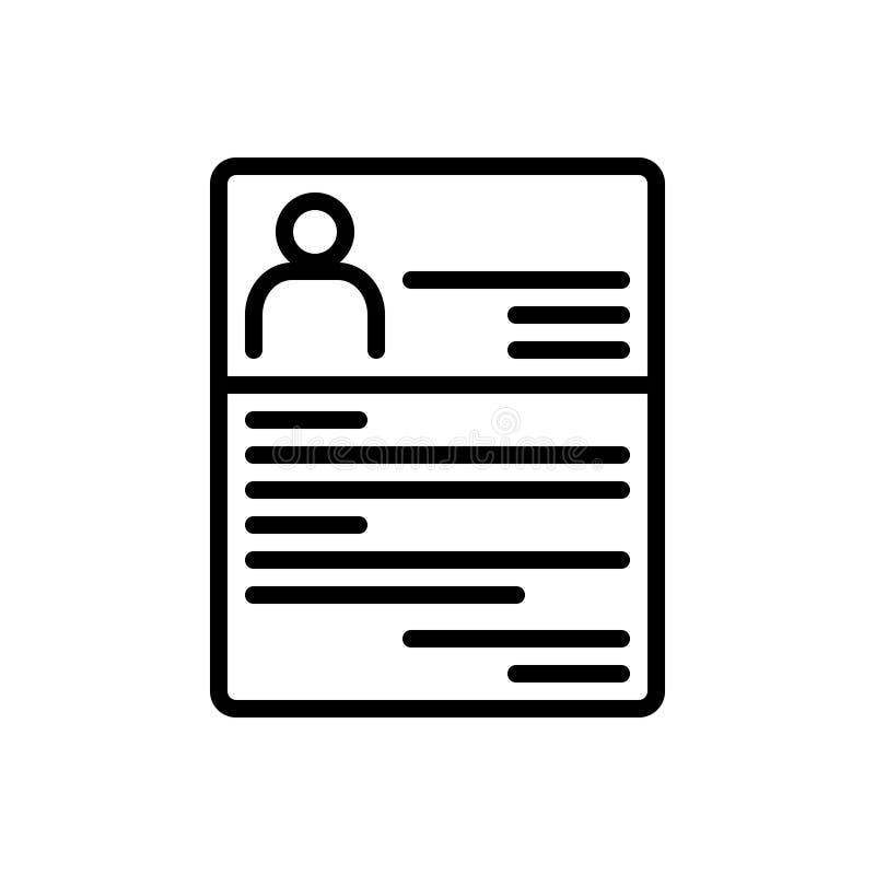 Línea negra icono para el curriculum vitae, resumen y reocupar libre illustration