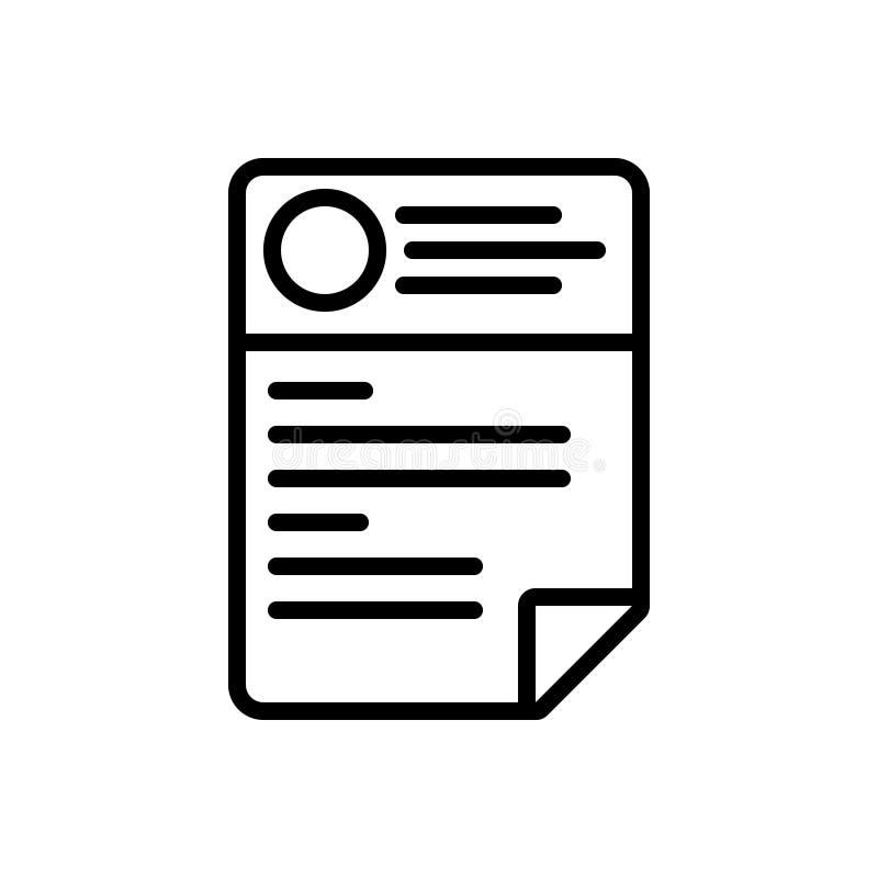 Línea negra icono para el Cv, el curriculum vitae y la plantilla stock de ilustración