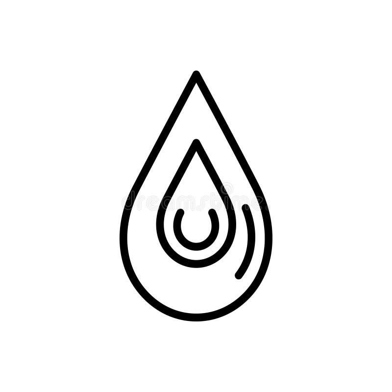 Línea negra icono para el descenso, la gota y el goteo stock de ilustración