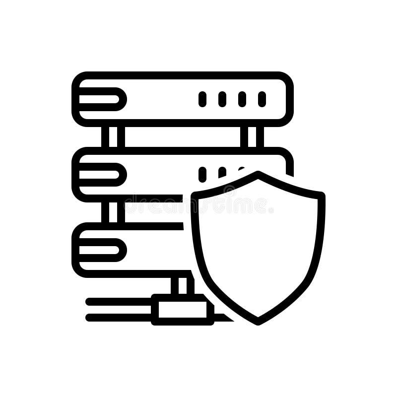 Línea negra icono para el escudo, la salvaguardia y la tutela Sever ilustración del vector
