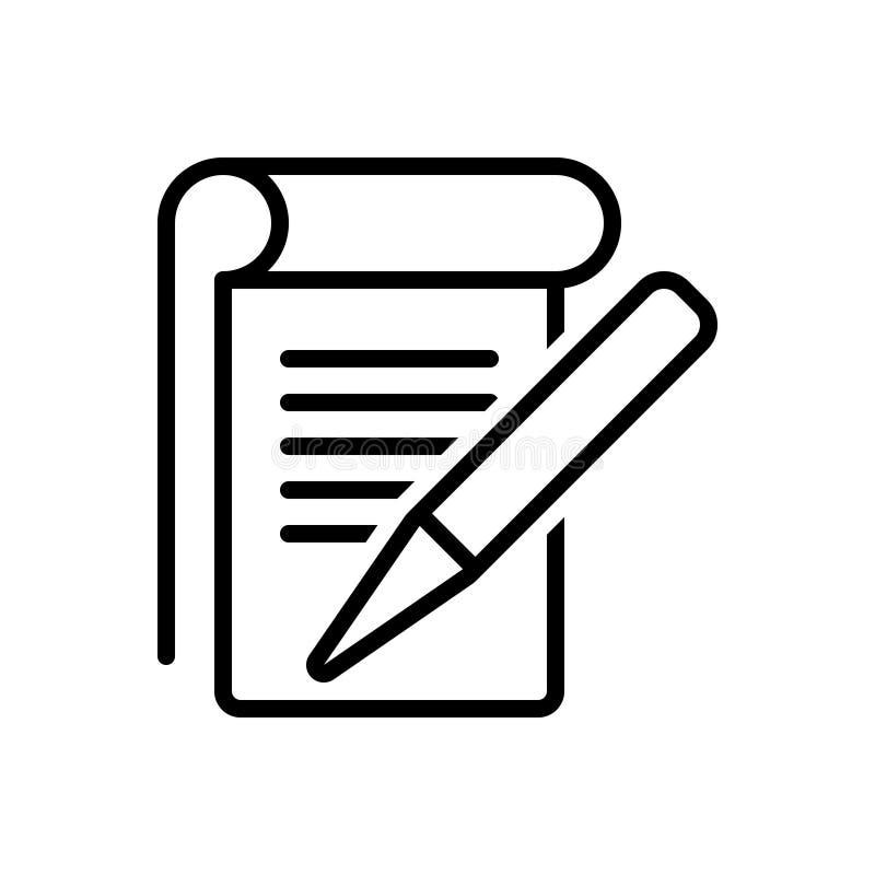 Línea negra icono para el estudiante Notes, el editorial y las notas stock de ilustración