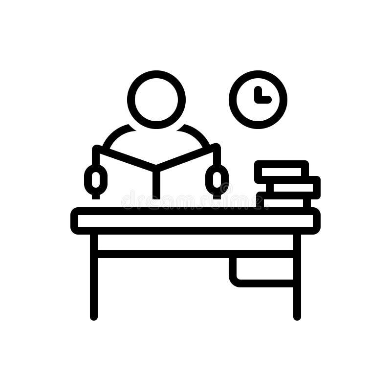 Línea negra icono para el estudio, lectura atenta e intone ilustración del vector