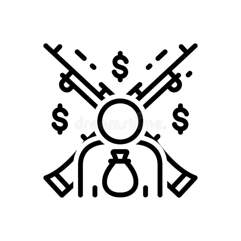 Línea negra icono para el feudalismo, el feudality y el robo stock de ilustración