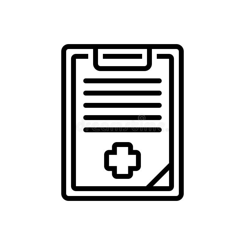 Línea negra icono para el historial médico, la atención sanitaria y la medicina stock de ilustración