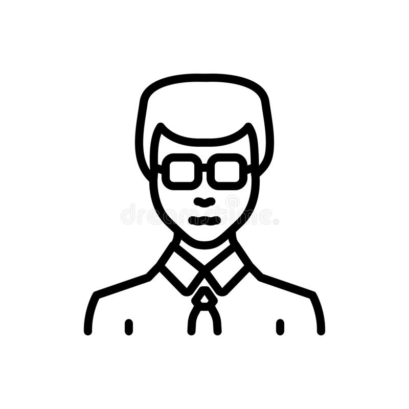 Línea negra icono para el hombre de negocios, el empresario y enérgico libre illustration