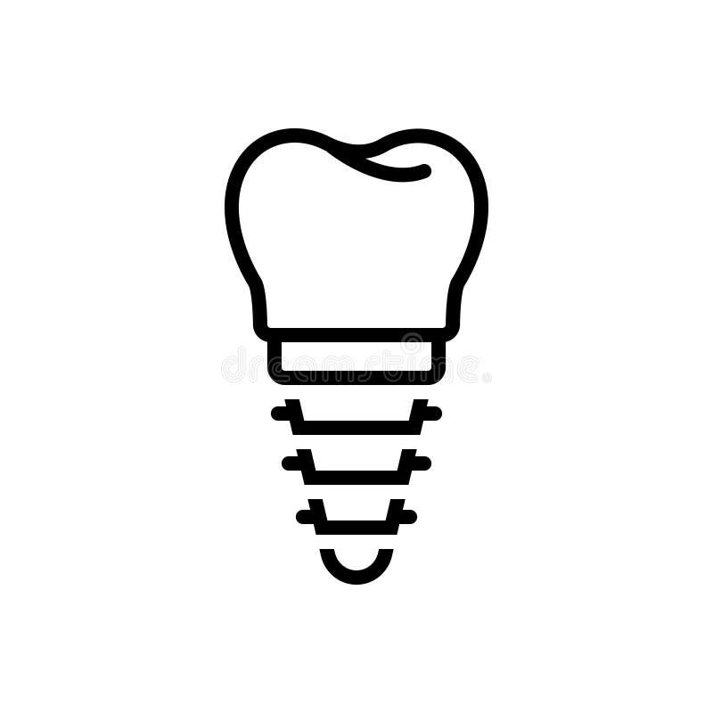 Línea negra icono para el implante, los apoyos y dental stock de ilustración