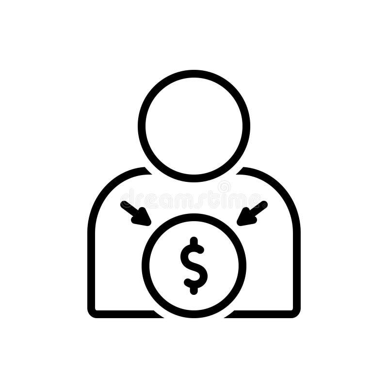 Línea negra icono para el incentivo, el estímulo y el estímulo ilustración del vector
