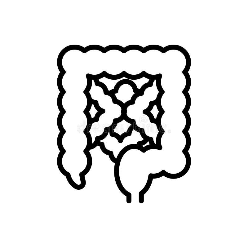 Línea negra icono para el intestino, alimenticio y digestivo libre illustration