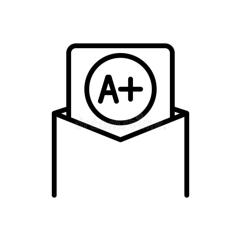 Línea negra icono para el mejores grado, mejor y grado ilustración del vector