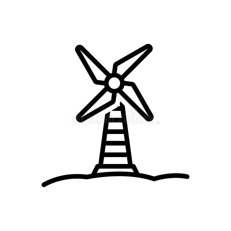 Línea negra icono para el molino de viento, el propulsor y el ventilador stock de ilustración