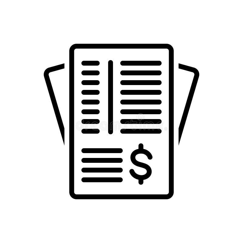 Línea negra icono para el papel, el papeleo y el contrato de la factura libre illustration