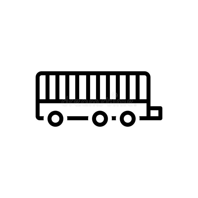 Línea negra icono para el remolque, el camión y el viaje ilustración del vector