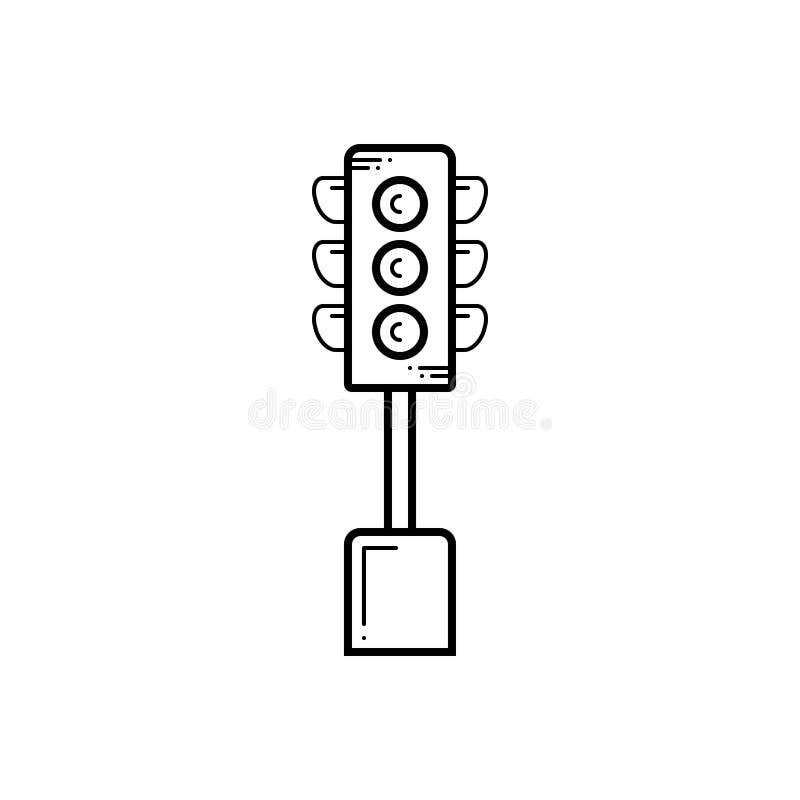 Línea negra icono para el semáforo, la señal y la muestra ilustración del vector