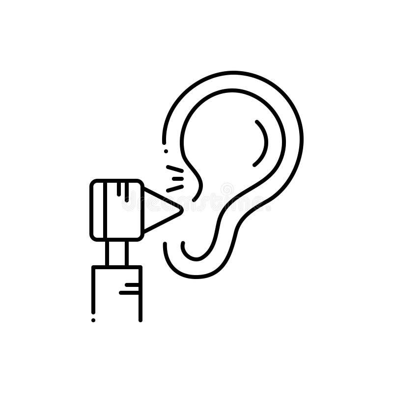 Línea negra icono para el tratamiento de la audiencia, médico y oír stock de ilustración