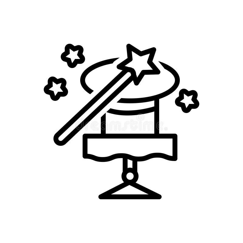 Línea negra icono para el truco mágico, la fascinación y el encanto ilustración del vector