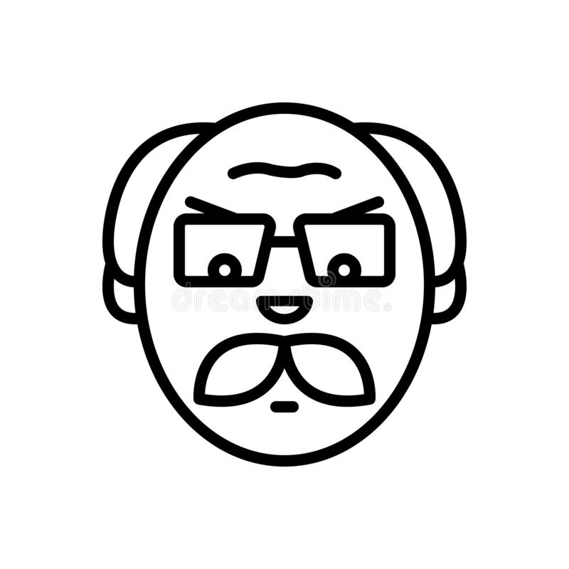 Línea negra icono para el viejo hombre enojado, gente y molestado stock de ilustración