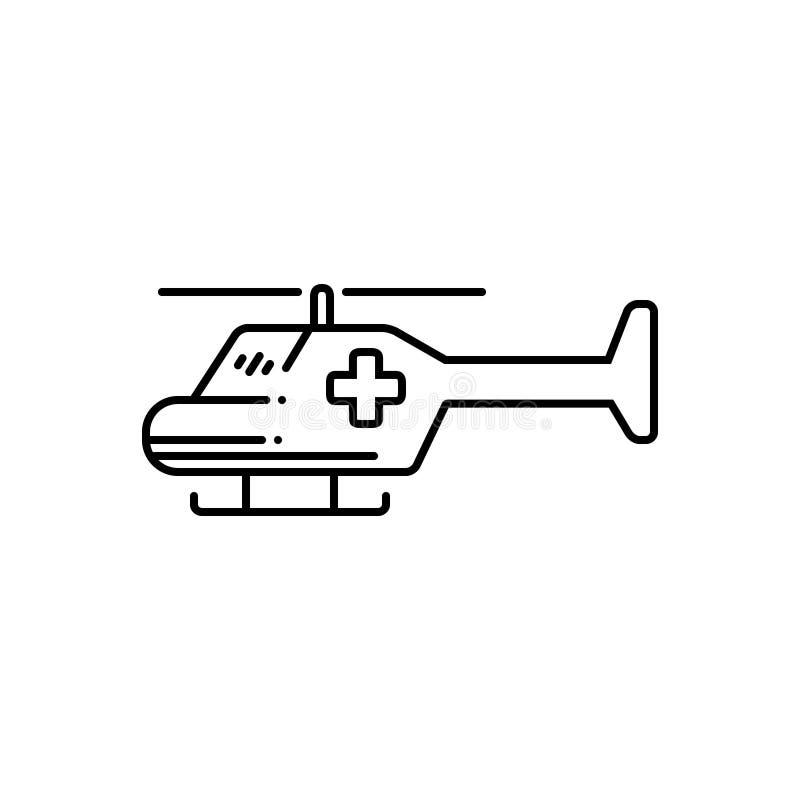 Línea negra icono para la ambulancia aérea, el servicio y el helicóptero libre illustration