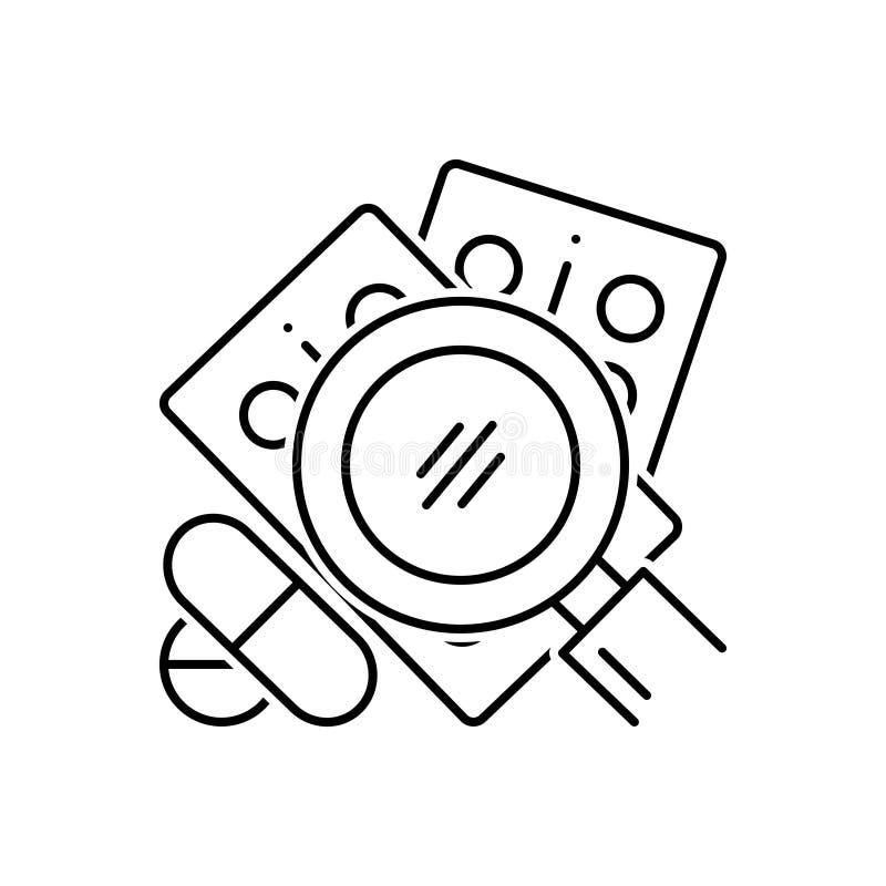 Línea negra icono para la búsqueda para la droga, el vidrio y la medicina libre illustration