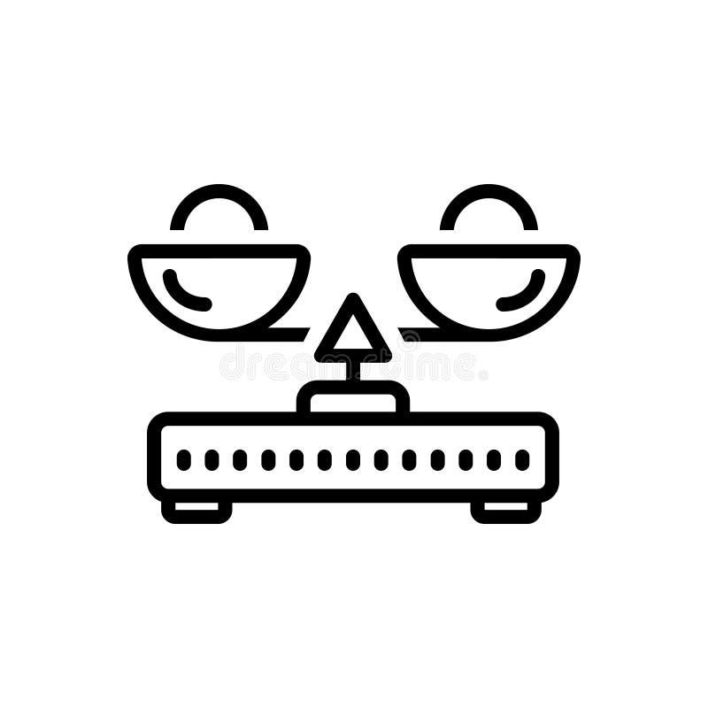 Línea negra icono para la balanza, la medida y la igualdad de la carga libre illustration
