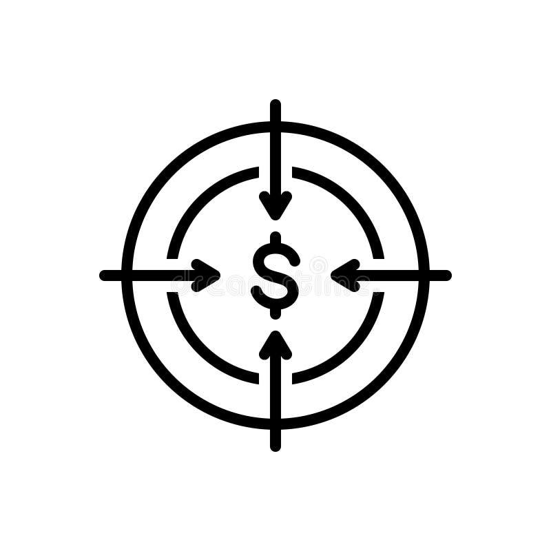 Línea negra icono para la blanco, la ambición y la intención stock de ilustración