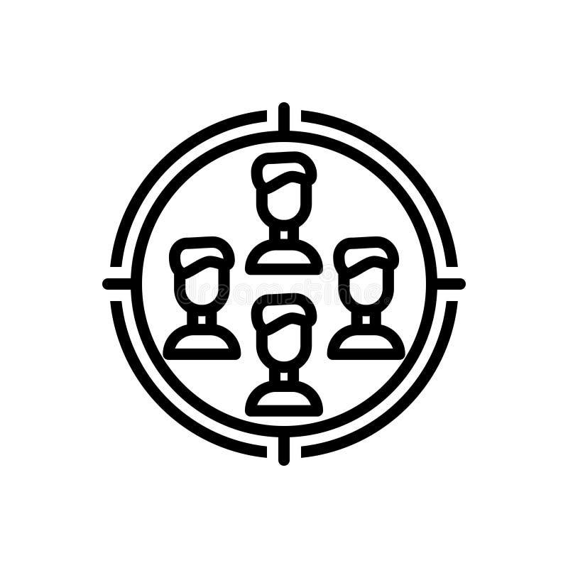 Línea negra icono para la blanco, la audiencia y la lista de control stock de ilustración