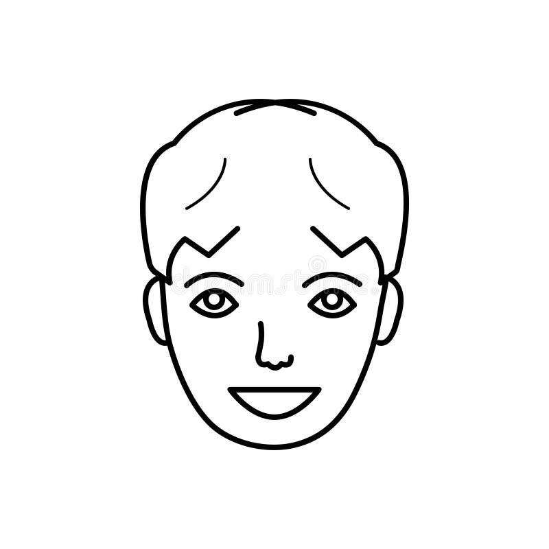 Línea negra icono para la cara feliz, contento y satisfecho stock de ilustración