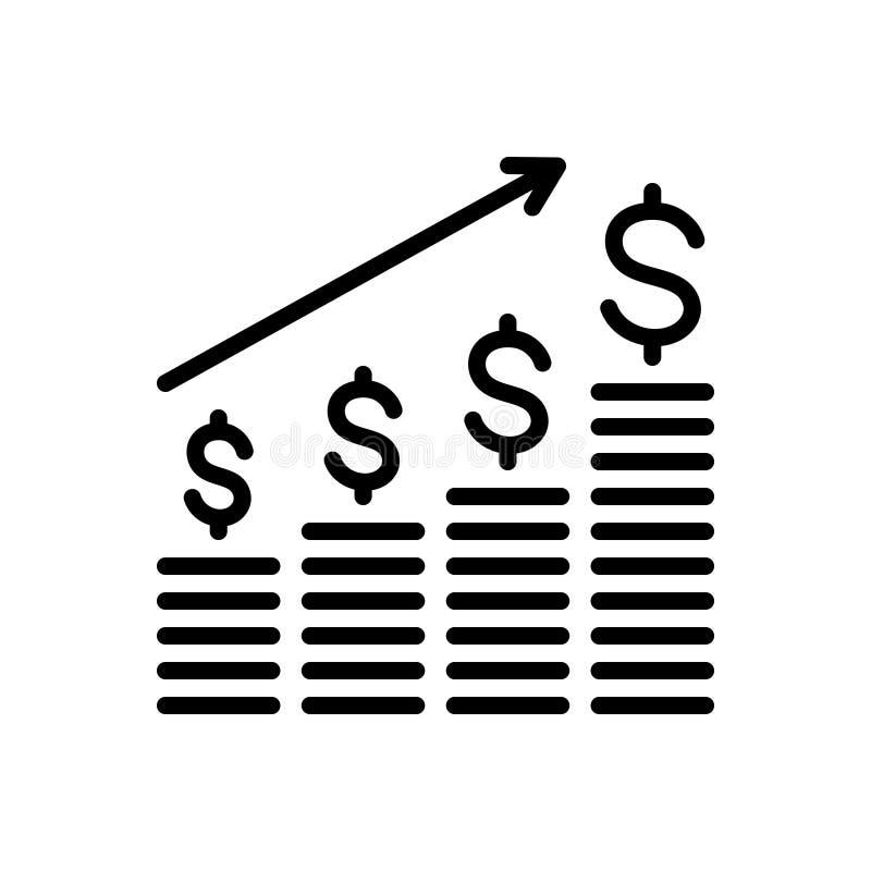 Línea negra icono para la carta, el crecimiento y el negocio de barras del análisis del dólar ilustración del vector