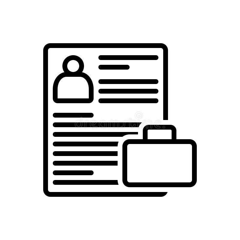 Línea negra icono para la cartera, el curriculum vitae y el resumen ilustración del vector