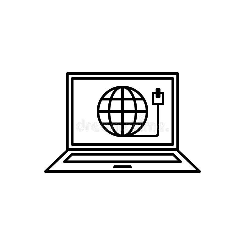 Línea negra icono para la conexión, el ordenador portátil y la red de la web ilustración del vector