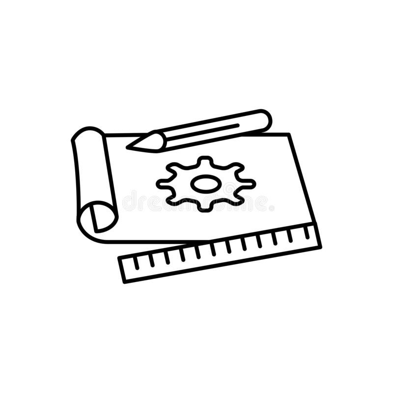 Línea negra icono para la creación de un prototipo, el concepto y el objeto libre illustration