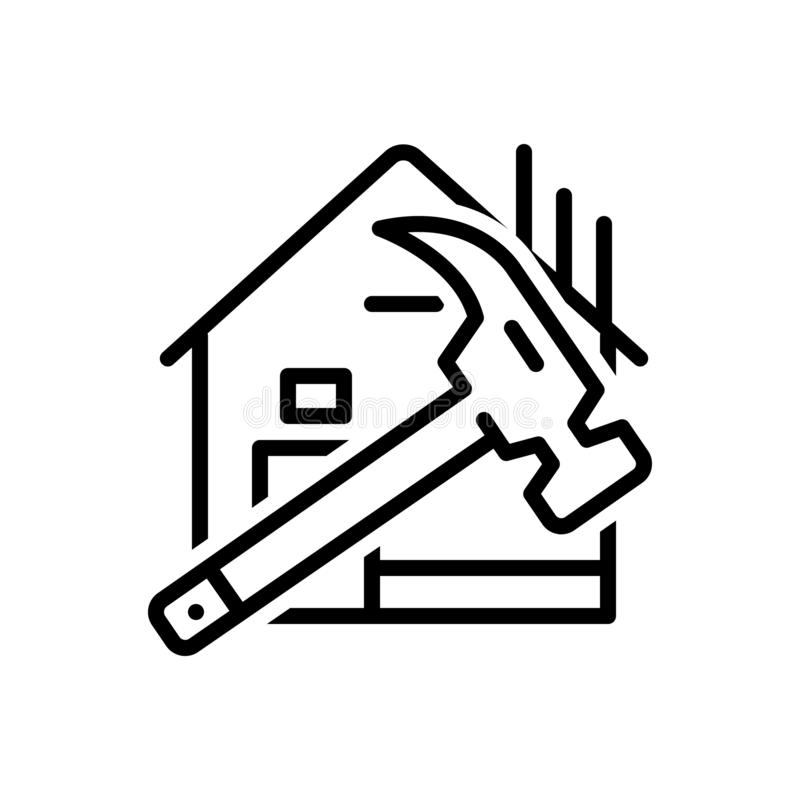 Línea negra icono para la estructura, el harmer y la casa ilustración del vector