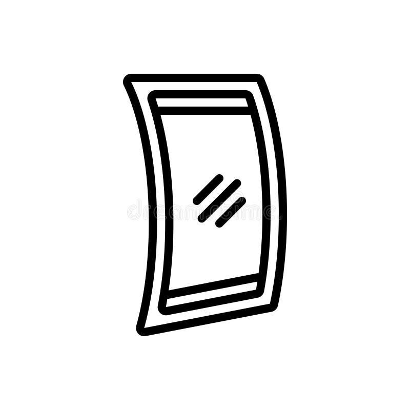 Línea negra icono para la exhibición flexible, resistente y flexible stock de ilustración