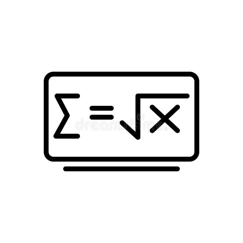 Línea negra icono para la fórmula de la matemáticas, la matemáticas y el emblema stock de ilustración