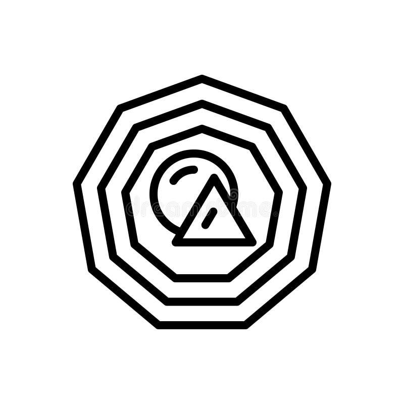 Línea negra icono para la forma, el tamaño y la figura stock de ilustración