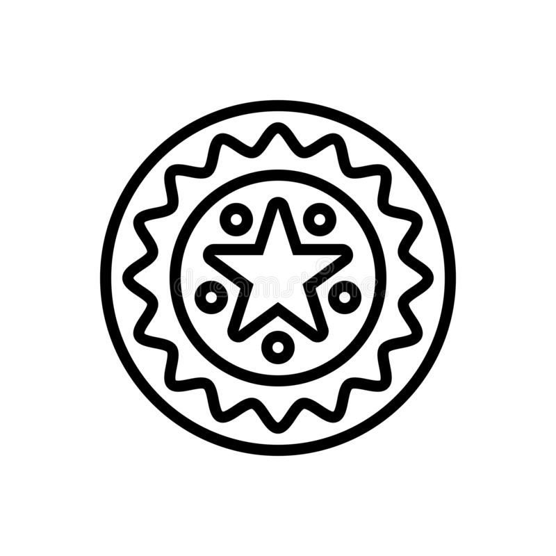Línea negra icono para la garantía, la garantía y el sello stock de ilustración