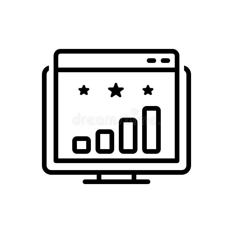 Línea negra icono para la graduación, la competencia y el éxito de la página web stock de ilustración