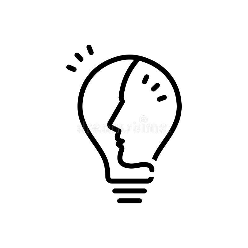 Línea negra icono para la idea, la inspiración y la solución stock de ilustración