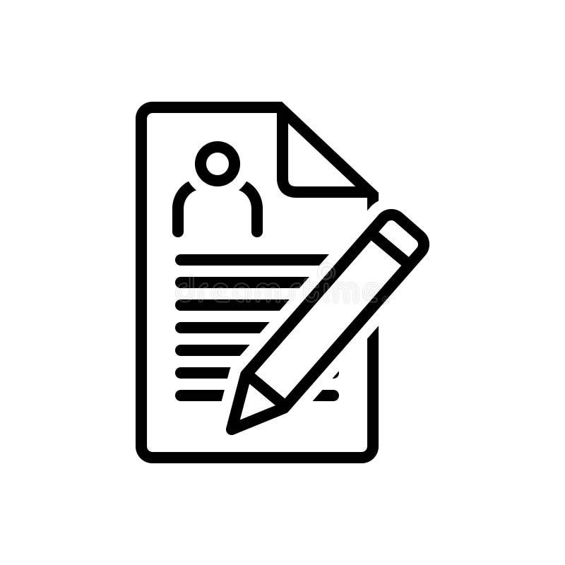 Línea negra icono para la inscripción, el nombramiento y el registro libre illustration