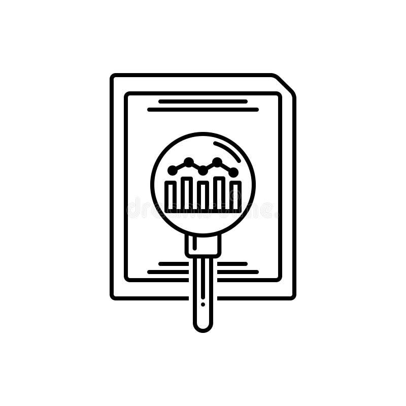 Línea negra icono para la investigación, el analytics y en línea stock de ilustración