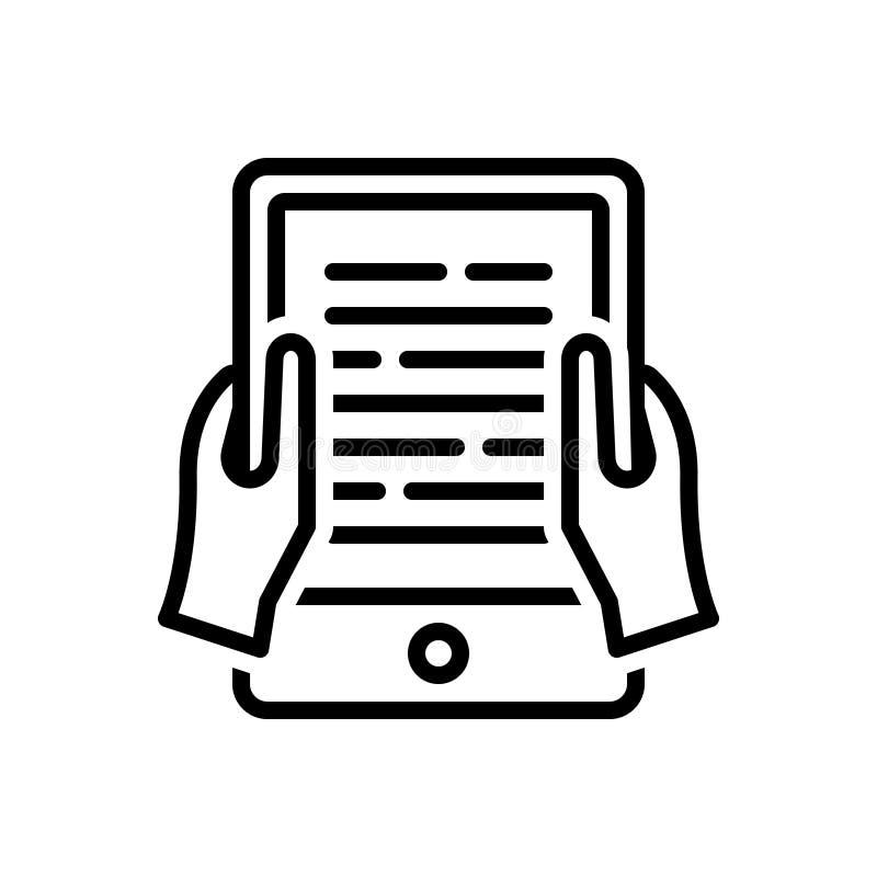 Línea negra icono para la lectura, el conocimiento y la publicación de Ebook stock de ilustración