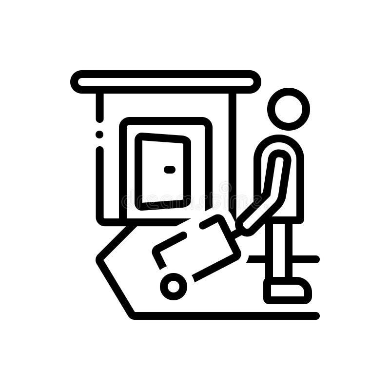 Línea negra icono para la licencia, el viaje y las vacaciones ilustración del vector